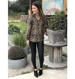 Leopard Print L/S Button Down Blouse