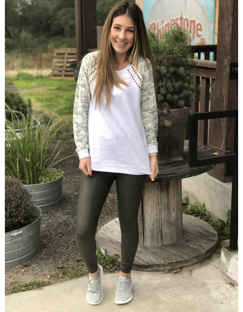 Hem & Thread Camo Contrast Pullover Studded Sweatshirt