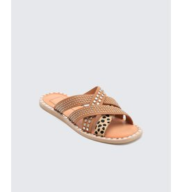 Dolce Vita Corbey Studded Leopard Hair & Caramel Leather Sandal