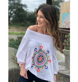 White Embroidered Off the Shoulder Top