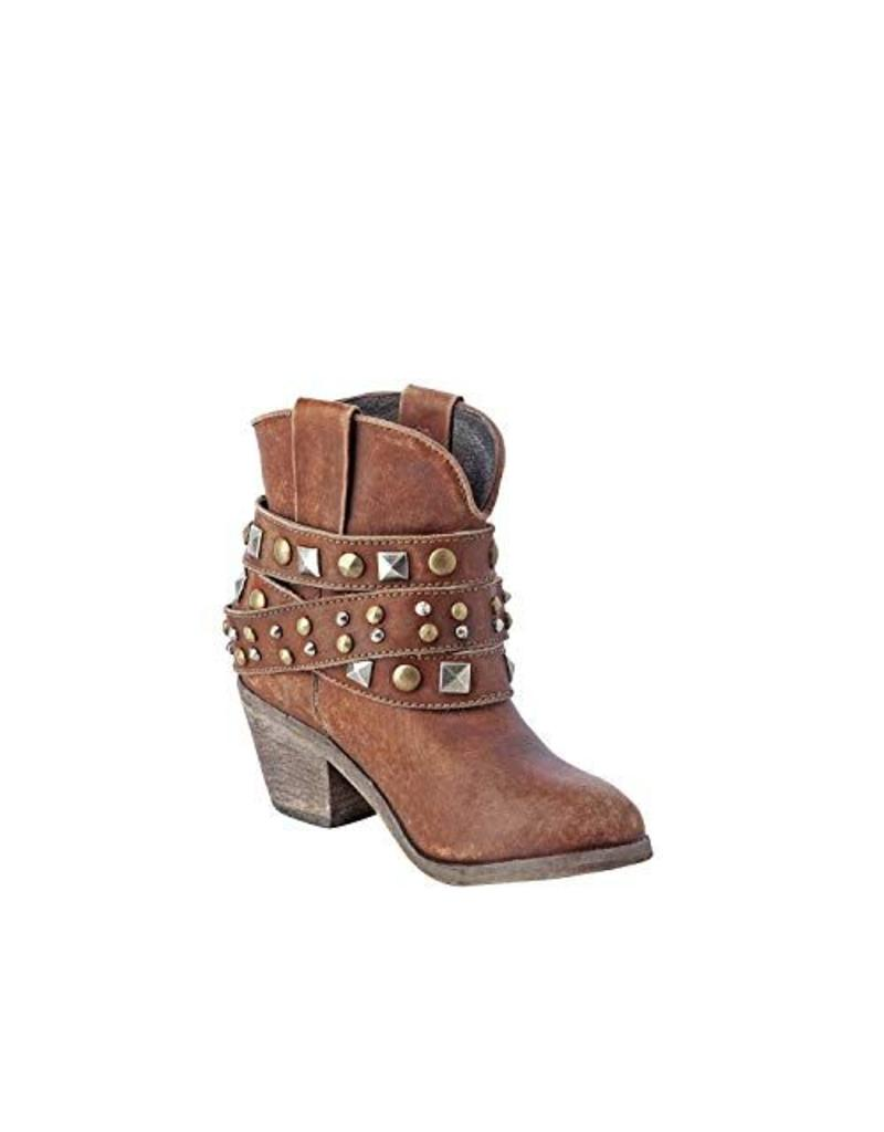 Cognac Studded Strap Ankle Boot
