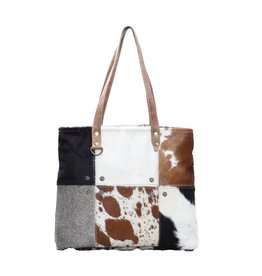 Cowhide Multi Patch Tote Bag CH163