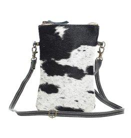 Cowhide Crossbody Bag Black & White CH174