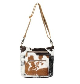 Cowhide Double Zipper Shoulder Bag CH290