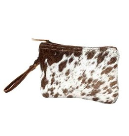 Cowhide Wristlet Bag White & Brown CH785
