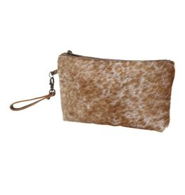 Cowhide Wristlet Bag Light Brown Shaded CH786