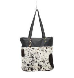 Cowhide Shoulder Bag Black & White CH980