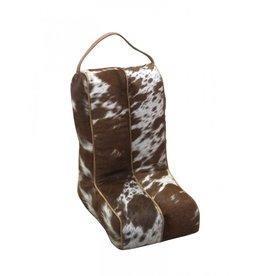 Cowhide Boot Bag Brown & White
