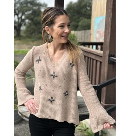 V-Neck Chenille Sweater w/Crystal Detail