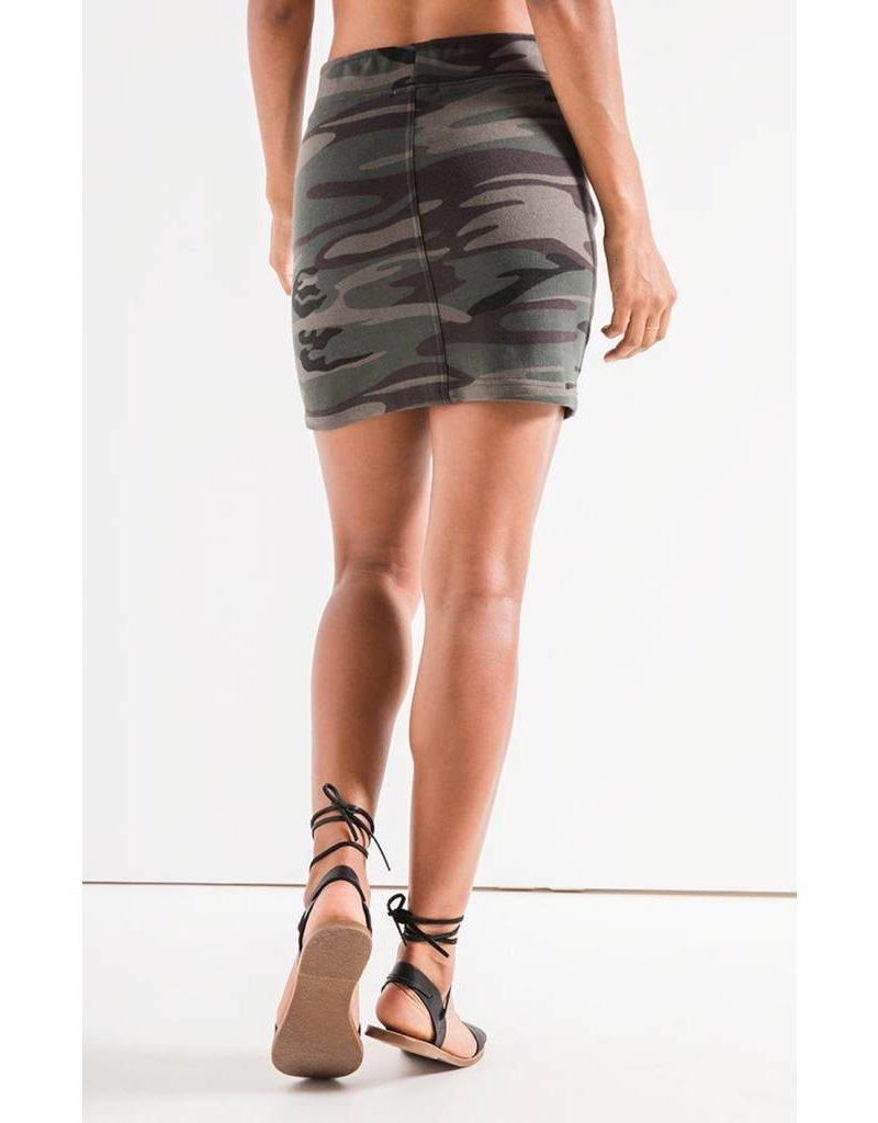 Camo Forest Green Knit Mini Skirt