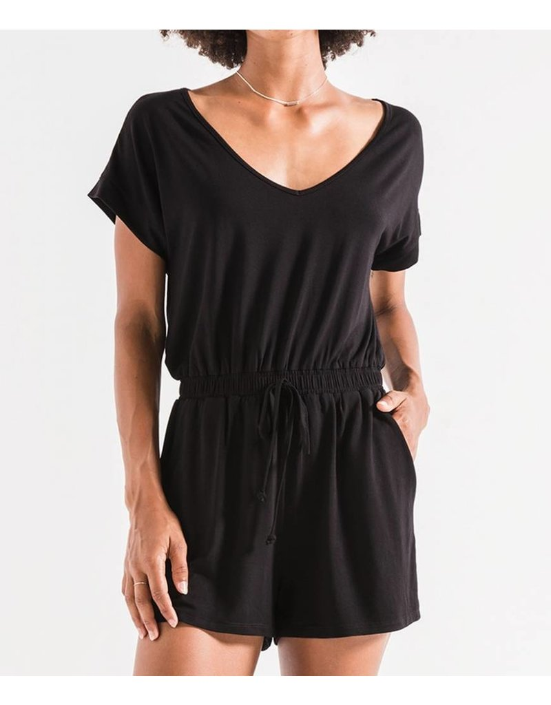 Z Supply Short Sleeve Romper- Black