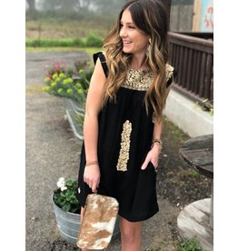 Black Taupe Embroidered Dress