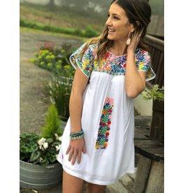 White Multi Embroidered Dress
