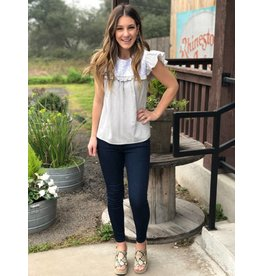 Grey stripe white embroidered Top