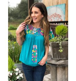 Turquoise Multi Embroidered Top