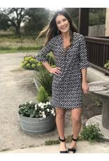 Black & White U Neck Print Dress