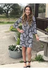 Black & White Paisley V Neck Dress