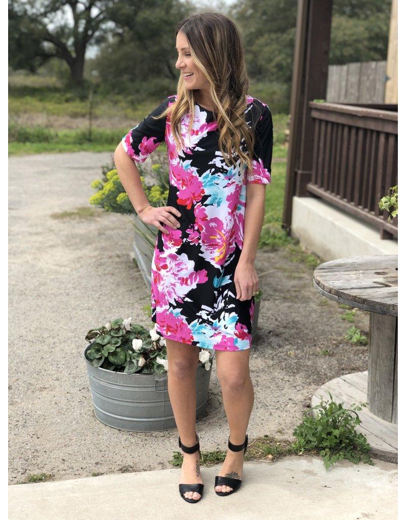 Black & Pink Floral Short Sleeve Dress