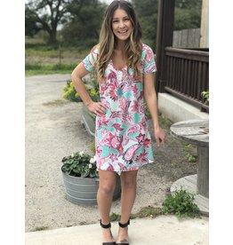 Mint & Pink Floral V Neck SS Dress