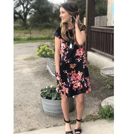 Black & Pink Floral Swing Dress