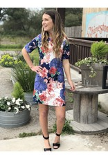 Navy & White Short Sleeve Floral Dress