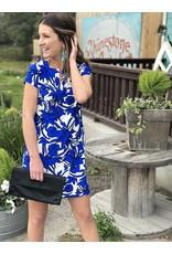 Royal Blue & White Sleeve Shift Dress