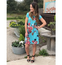 Turquoise & Pink Floral Swing Dress