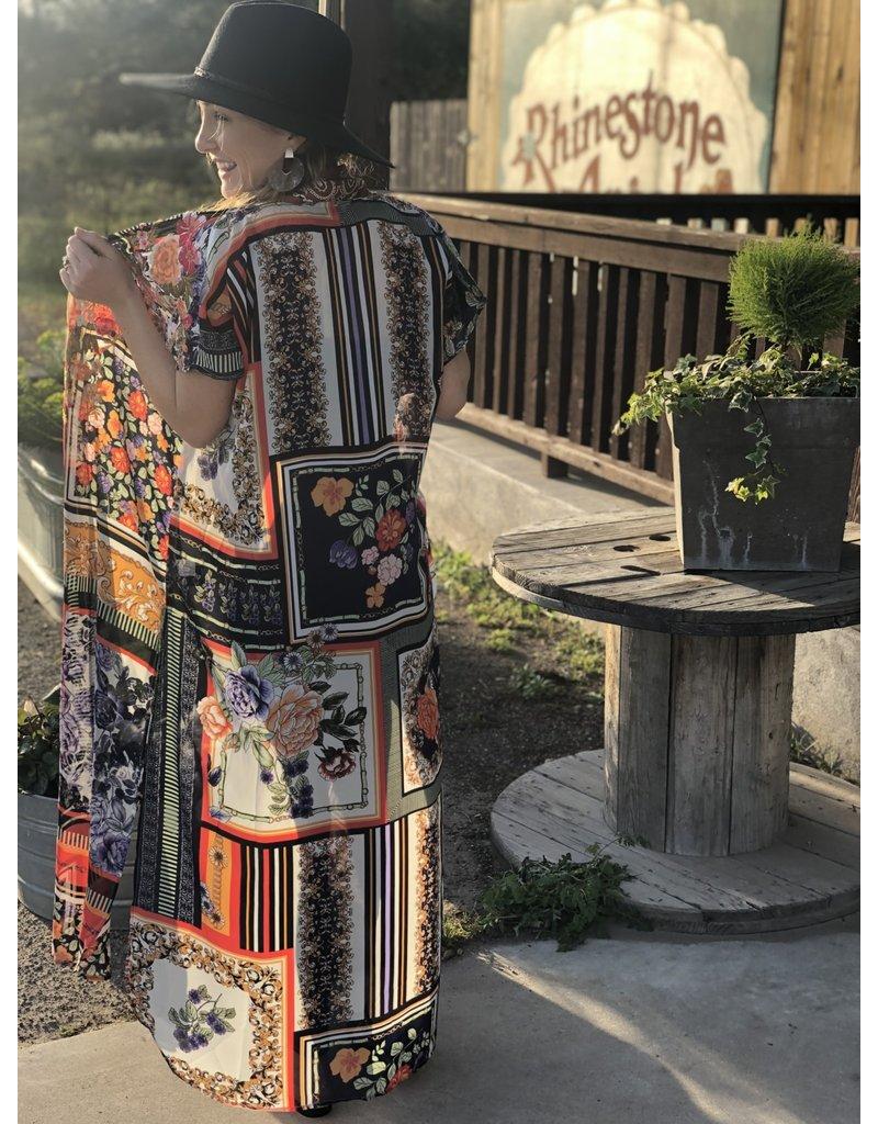 Blue Multi Print Kimono