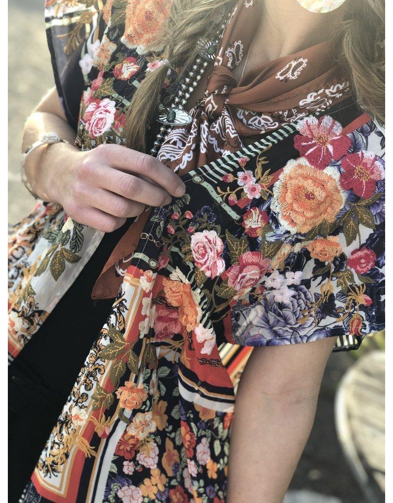 Blue Multi Print + Curvy  Kimono