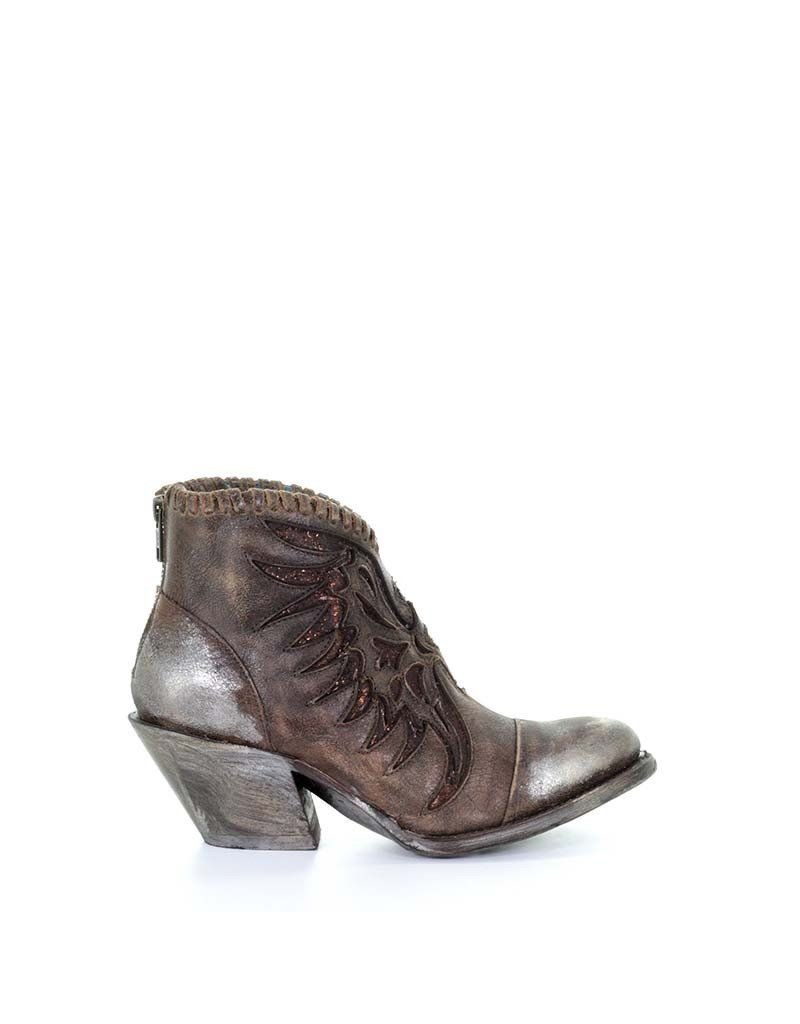 Corral Brown Woven & Overlay Ankle Boot #Z0031