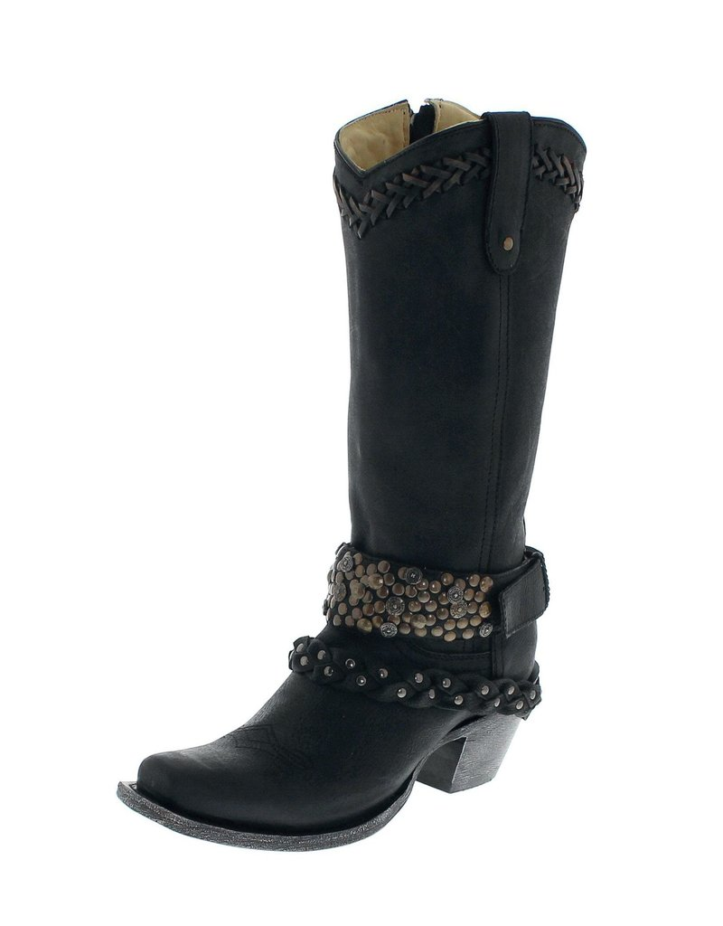 Corral Corral Black Studs and Harness Boots- G1397