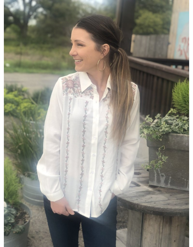 Ivory w/ Mauve Embroidery Top