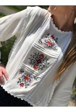 White Scallop Embroidered Top