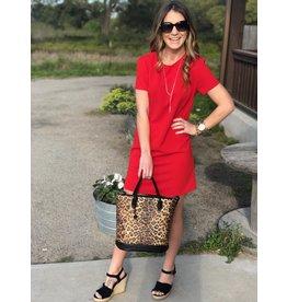 Red Short Sleeve Shift Dress
