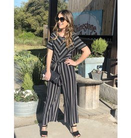 Short Sleeve Striped Jumpsuit w/ Front Tie