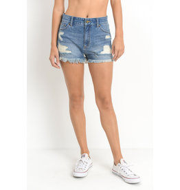 Just Black High Rise Destroyed Shorts - Med Denim
