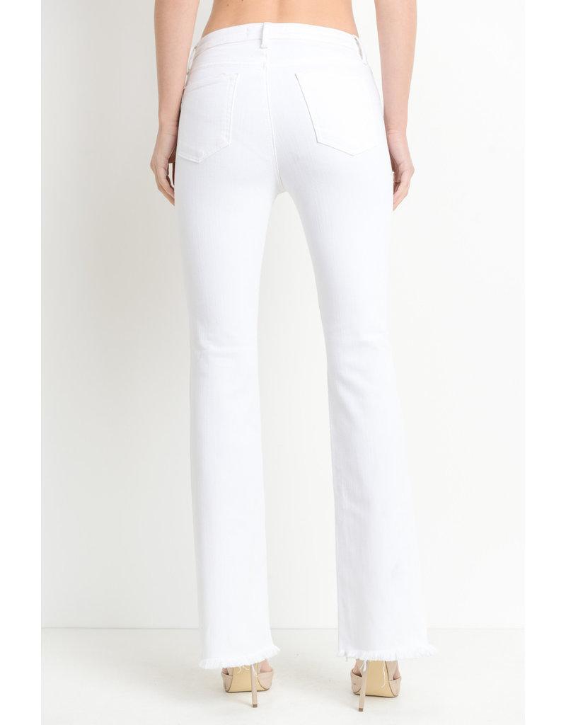 Just Black High/Rise Frayed Hem Flare White Denim Jeans