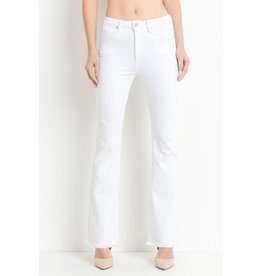 Just Black High/Rise Frayed Hem Flare White Denim Jeans