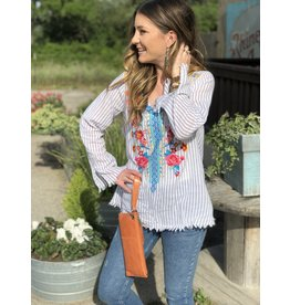 Grey Stripe Embroidered Top with Raw edge Sleeve