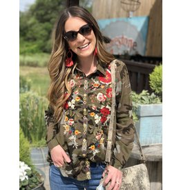 Camo Button Up Top with Floral Embroidery