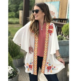 Ivory with Multi Embroidered Cardigan