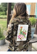 Camo Button up Top w/ Embroidered Cactus Patch
