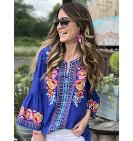Andree Royal Blue Embroidery Top