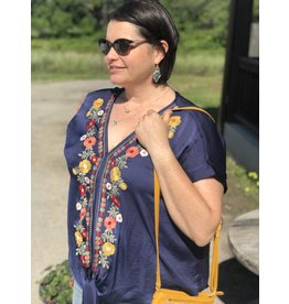 Navy Floral Embroidered + Tie Top
