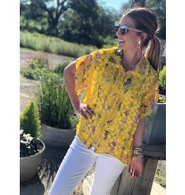 Yellow Multi Lace Detailed Floral Top