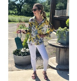 Yellow Multi Print Floral Button Up Top