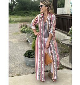Multi Color Gray Embroidered Dress Duster