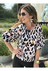 Pink Leopard Puff Sleeve Top