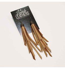 Lavish Leather Long Camel Tassel Earrings