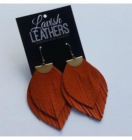 Large Burnt Orange Lavish Leather Flutter Earrings